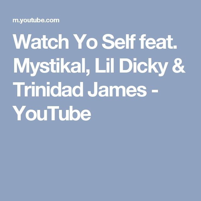 Watch Yo Self feat. Mystikal, Lil Dicky & Trinidad James - YouTube