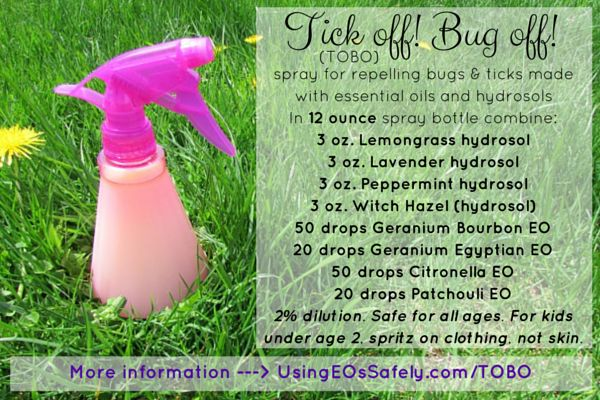 Tick Off! Bug Off! (TOBO) – spray for repelling bugs and ticks made with essential oils and hydrosols Read more ---> http://www.UsingEOsSafely.com/TOBO