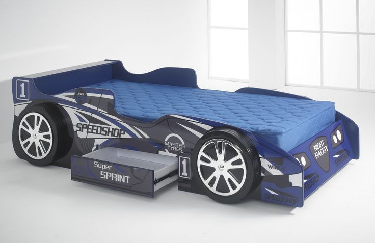 This is a bed which makes bedtime fun for the kids! It is in the form of a racing car, with a spoiler at the headboard end, and four realistic wheels. It is covered in lettering just like the adverts on a real racing car, and even has the practical element of a useful drawer in the side, ideal for storing away all those toys. http://www.chicconcept.co.uk/childrens-beds/3562-kids-blue-night-racer-bed-with-blue-mattress.html