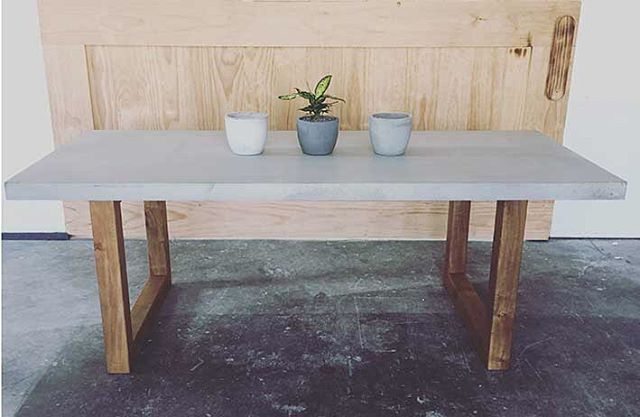 Our new Blocks Dining Table - polished concrete top w/ solid timber frame. Great for indoor or outdoor dining •••••••••••••••••••••••• Colour- Medium Grey Finish- Cream Finish Size- 2200 x 1000mm Other sizes and colours available More