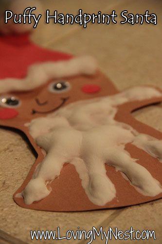 Puffy hand print Santa