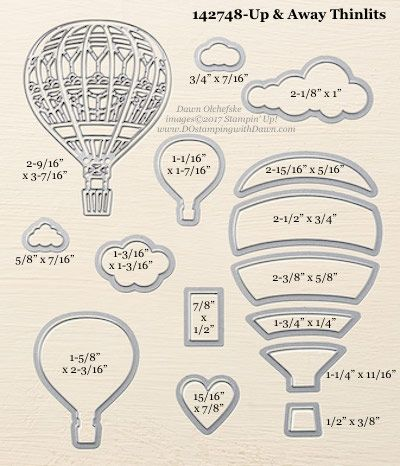 Stampin' Up! Up & Away Thinlits Dies sizes shared by Dawn Olchefske #dostamping