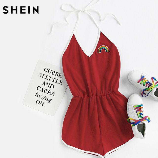 Better Deal $11.97, Buy SHEIN Ladies Rainbow Patch Contrast Binding Halter Romper Women Ladies Sexy Rompers Summer Red Sleeveless Romper