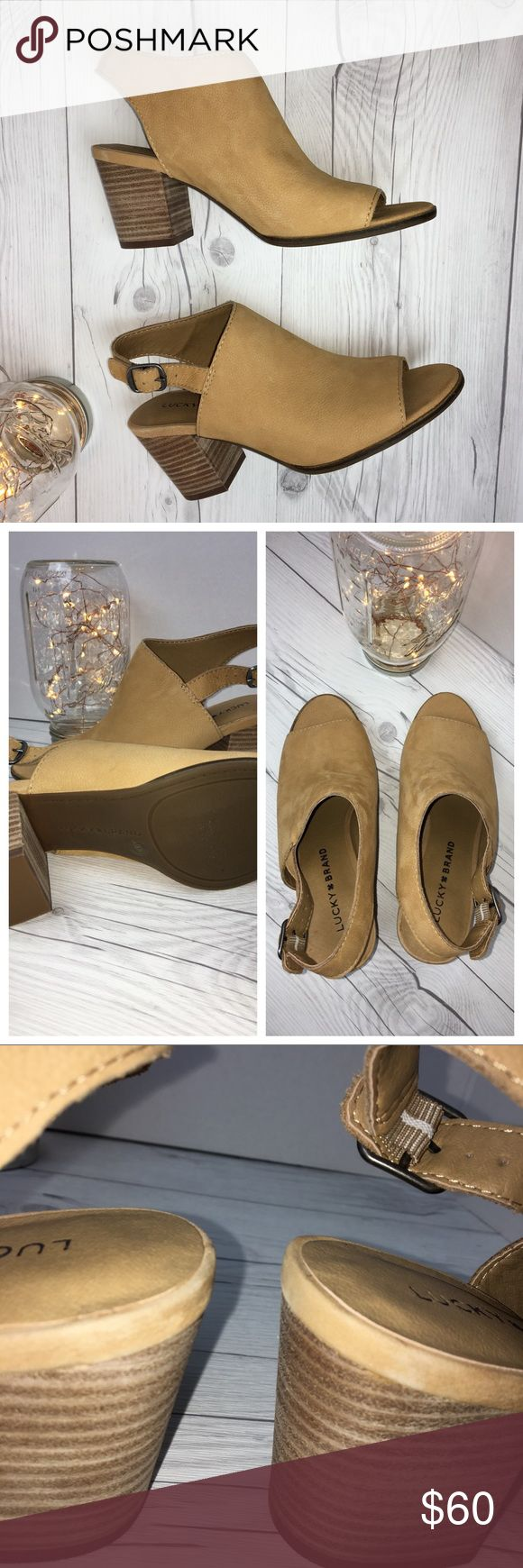 NWOT Lucky Brand🍀 Tan Leather Slingback Heels 6.5 New without tag Lucky Brand 🍀 Tan Leather Slingback Heels In Size 6.5   Man Made Lining/Sole Upper Leather. Heels have some wear from being in store (See Photos). ☃️Make an Offer ! Lucky Brand Shoes Heels