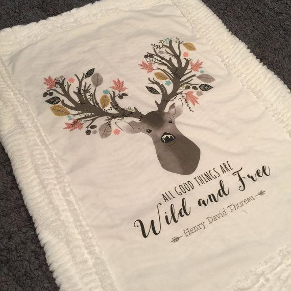 Deer faux fur blanket / Antler minky blanket / Girl deer nursery / Wild and free / Floral deer nursery / Deer nursery bedding / Baby shower