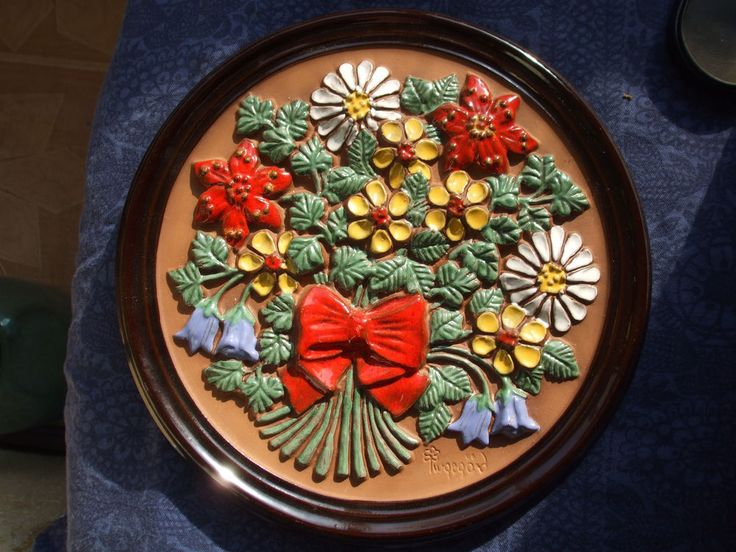 VINTAGE Gabriel Sweden  wall plaque tile Flowers Ingegerd Handpainted Large