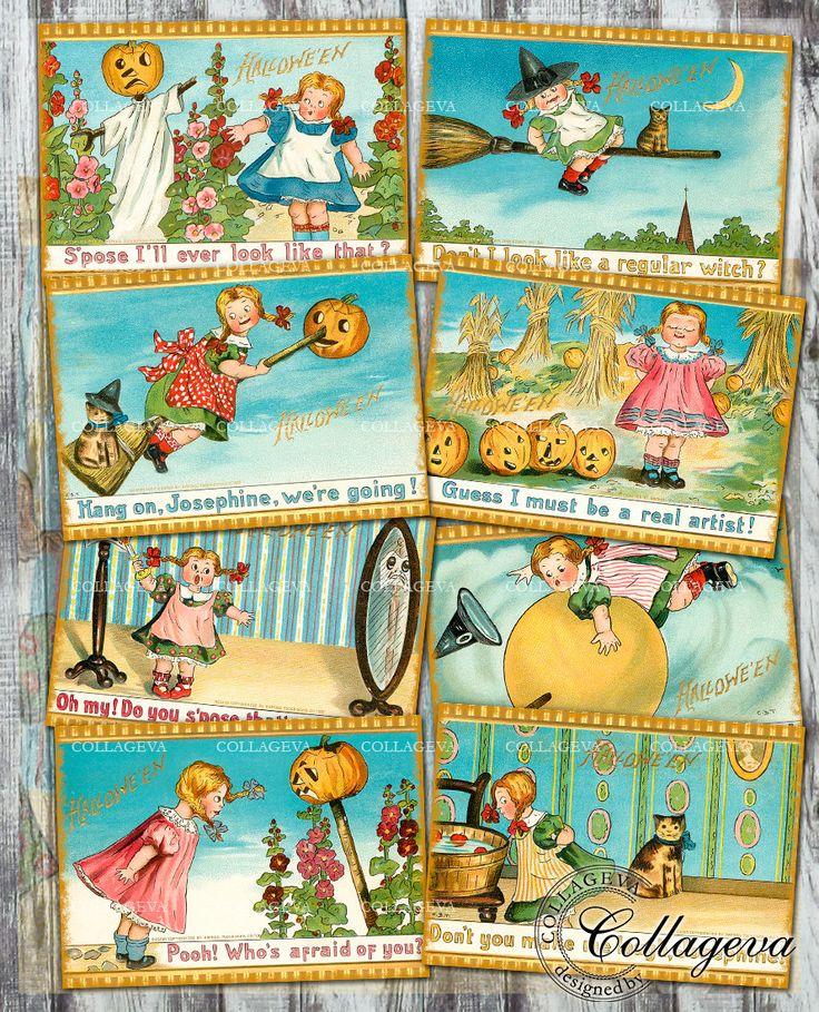 Halloween Girl Digital Cards ATC ACEO Tag Vintage Ephemera Printable Witch Children Cat images Retro Scarecrow Instant Download (T025-a) by collageva on Etsy