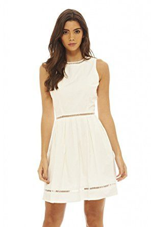 Cream Sleeveless Zip Back Sleeveless Skater Dress