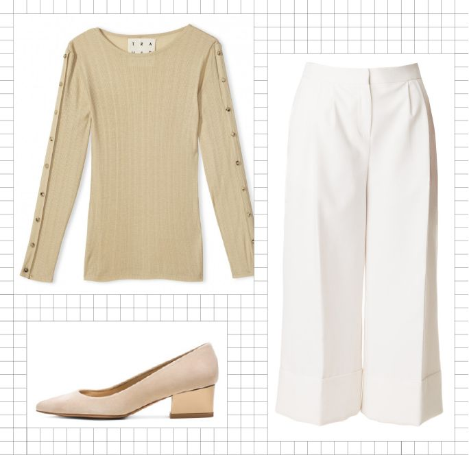5 Easy Office Uniforms for the Busy Working Woman - Fitted Top + Wide-Leg Culottes + Pumps from InStyle.com