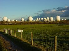 Signals intelligence - RAF Menwith Hill, a large site in the United Kingdom, part of ECHELON and the UKUSA Agreement. (2005)