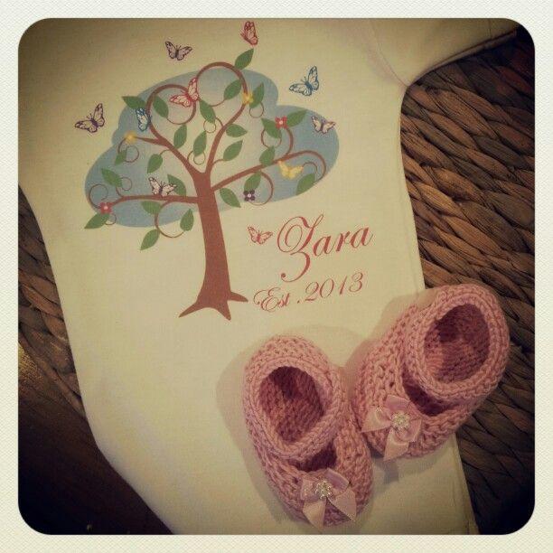 Personalised #butterfly tree onesie, with #handmadebooties