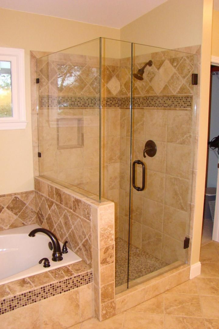 like the idea for dividing shower from tub - bigger shower?