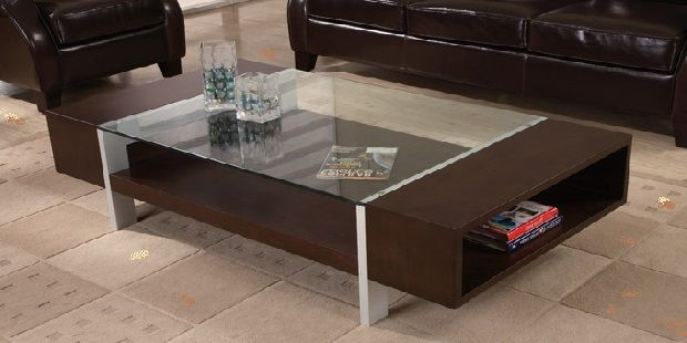 Wood and Glass Contemporary Coffee Table