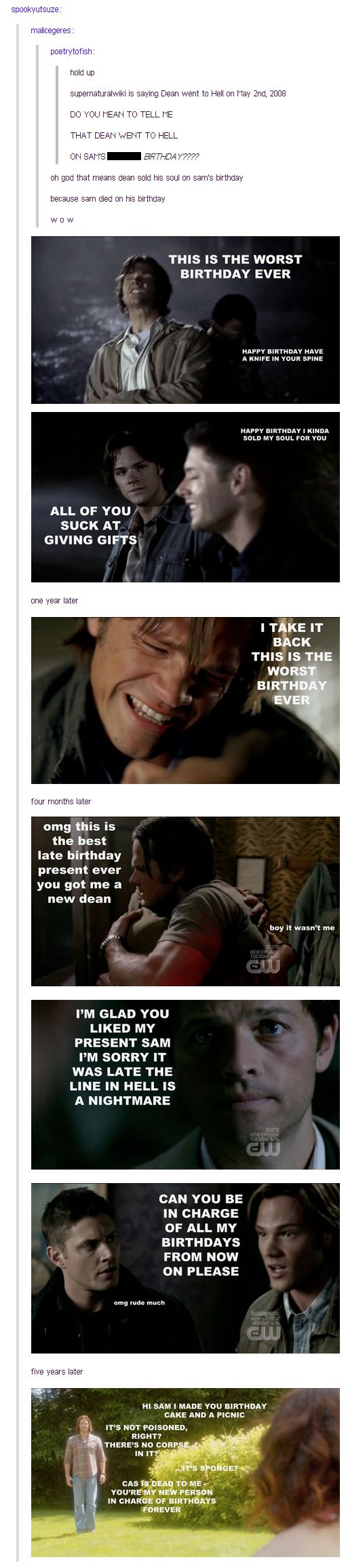 Supernatural. Sam Winchester birthday karma/coincidence? I don't know if I've ever seen anything that was so simultaneously funny and depressing...