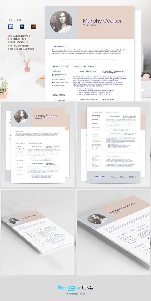 Resume template + FREE Cover Letter by RockStar Design on @creativemarket