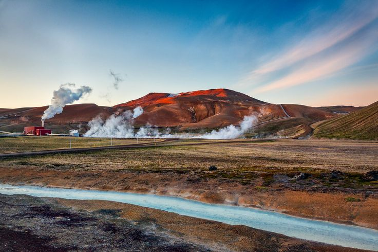 Geothermal activity along the road near Myvatn in northern Iceland.