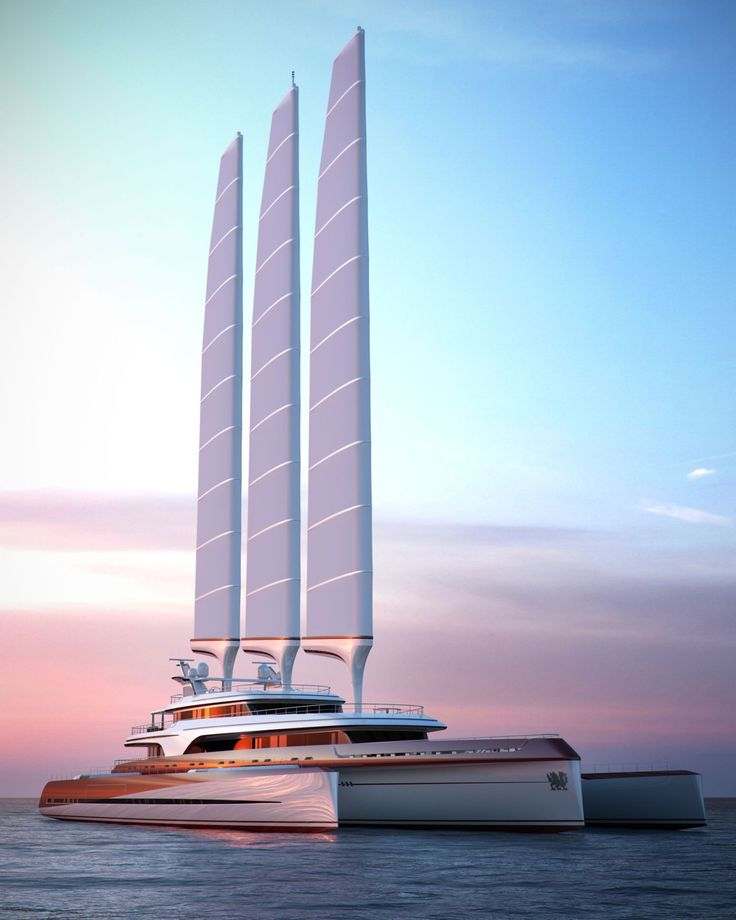 PI Yachts Superyacht Dragonship, aluminium 80 metre 5 deck 3 masted trimaran with folding amas.
