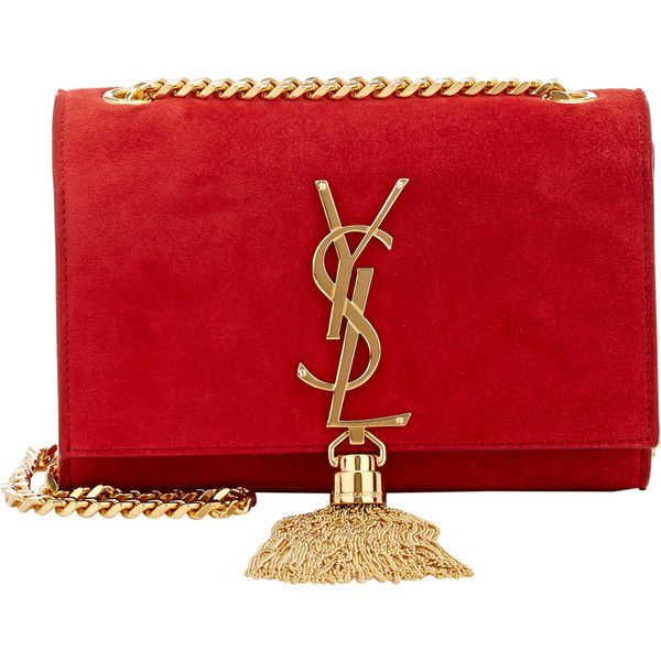 Saint Laurent Monogramme Small Crossbody ($1,890) ❤ liked on Polyvore featuring bags, handbags, shoulder bags, clutches, bolsas, red, shoulder strap bag, red purse, crossbody shoulder bags and suede shoulder bag