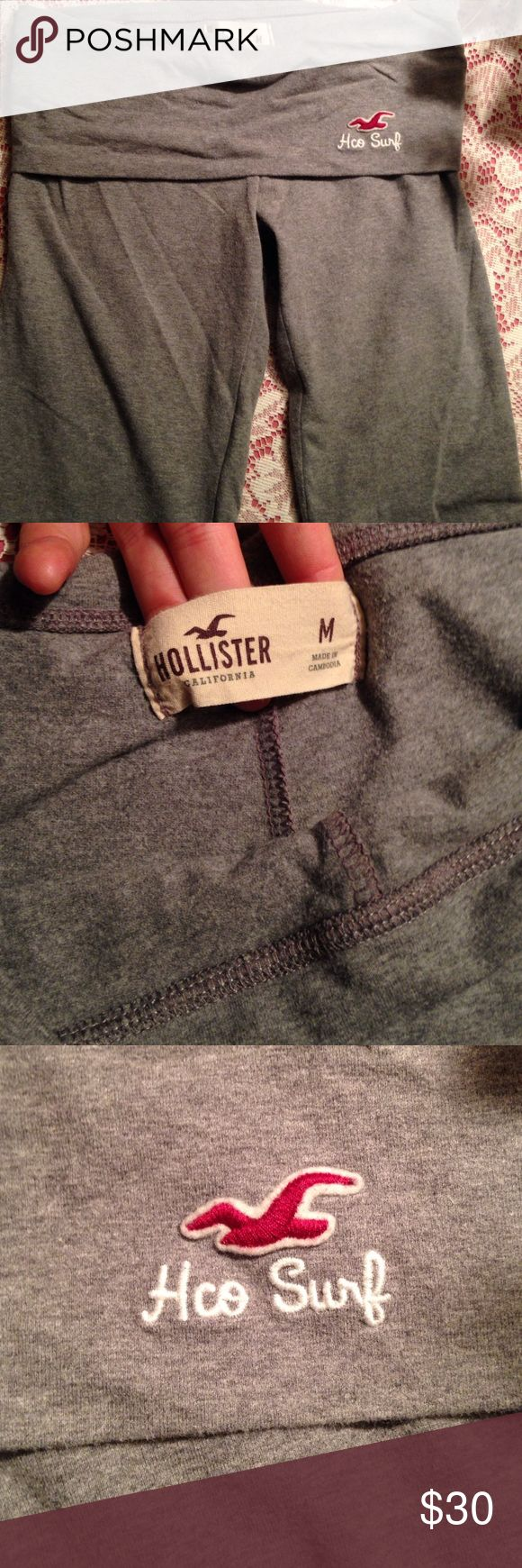 Hollister leggings Gray Hollister leggings. Light gray color with Hollister in white on the back of waist band. Barely warn. Great condition. Hollister Pants Leggings