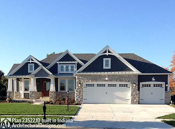 Plan 23522jd craftsman with multiple garage options exterior colors craftsman and house - One level house plans with basement paint ...