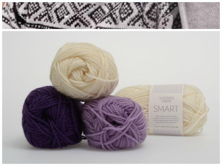 Marius med hvit mønster i garnet Smart  1012, 5033, 5229 #farger #fargekombinasjoner #garn #inspirasjon #marius