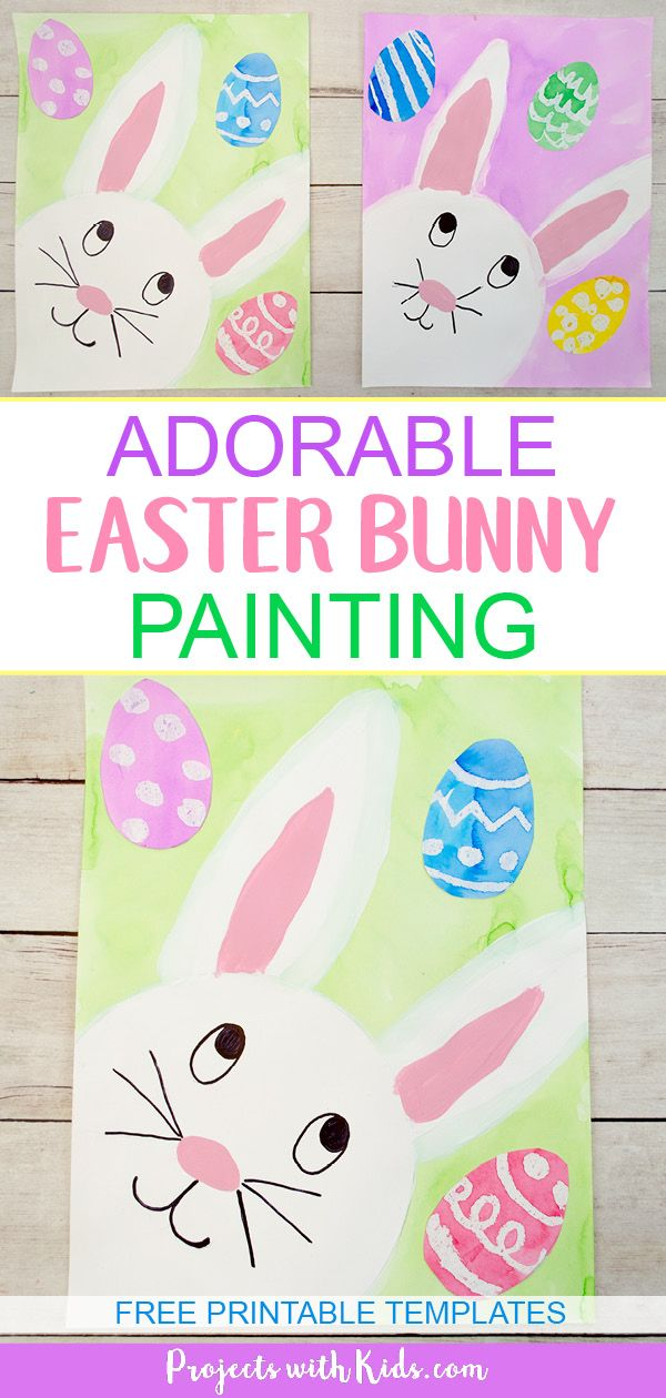 The Cutest Easter Bunny Painting For Kids To Make With Images