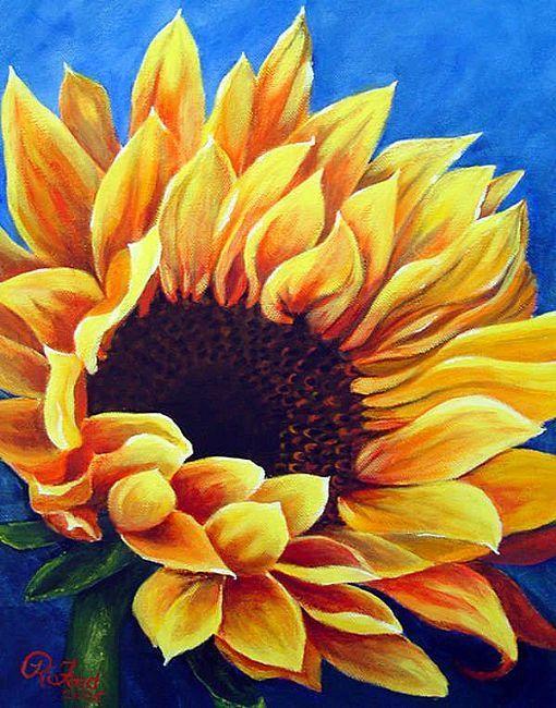 pastel drawn sunflowers flowers | Art: Sunflower by Artist Rita C. Ford