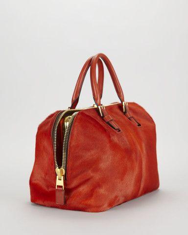 Petra Zip Frame Calf Hair & Brushed Calf Leather Satchel Bag-in-Bag   Neiman Marcus