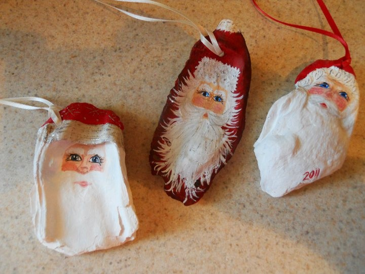 Santa ornaments I painted on Oyster Shells I picked up on the beach....