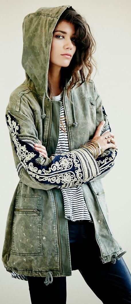 Free People 'Golden Quills' Military Parka coat jacket L $298 oversized