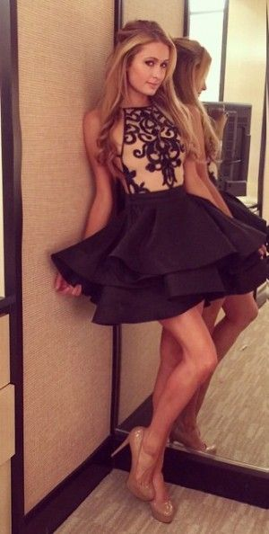 Paris Hilton wearing Michael Costello 2015 Dress and Prada Nude Pumps