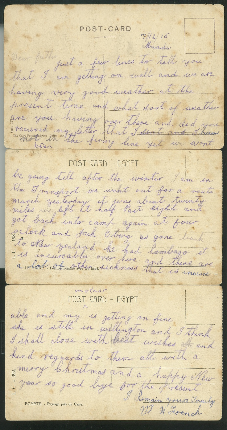 Uncle Harry's postcards from the front WWI