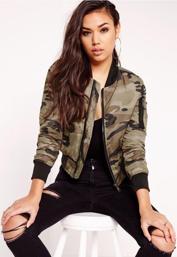 Camouflage Bomber Jacket Khaki - Missguided