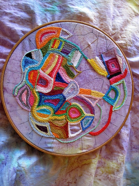 Hand embroidery chain stitch abstract.