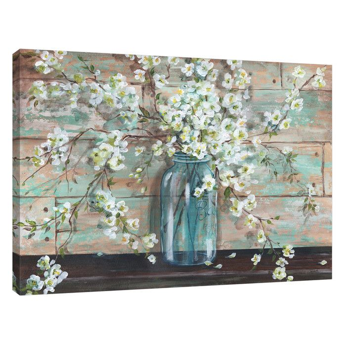 'Blossoms in Mason Jar' by Tre Sorelle Studios Painting Print on Wrapped Canvas