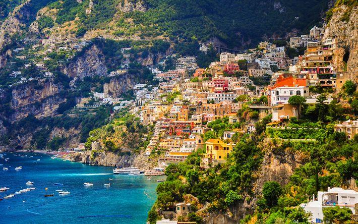 Hämta bilder Amalfi, 4k, sommar, havet, Salerno-Bukten, kusten, Salerno, Italien