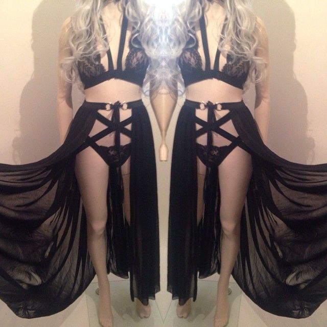 SALEM - Long Sheer Black Mesh Skirt Wrap