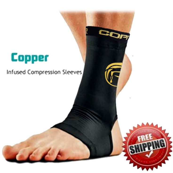 Copper Infused Unisex Ankle Compression Sleeve Arch Heel Pain Relief Support US