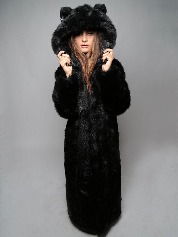 Black Wolf Duster - Long Faux Fur Coat