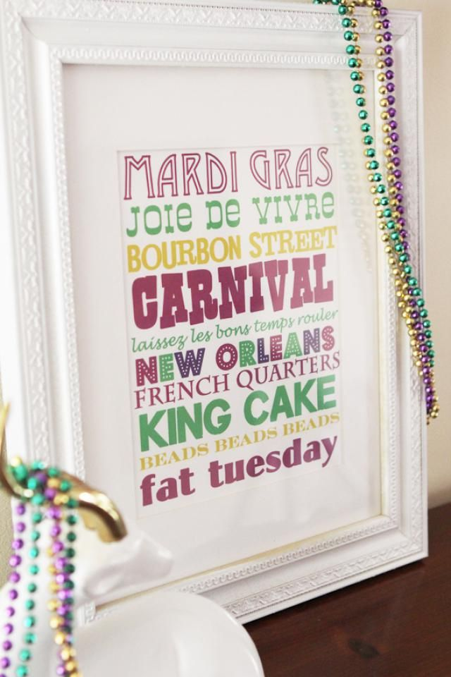 Free, Printable Mardi Gras Stuff to Save You Money: Mardi Gras Subway Art from Little Luck Tree