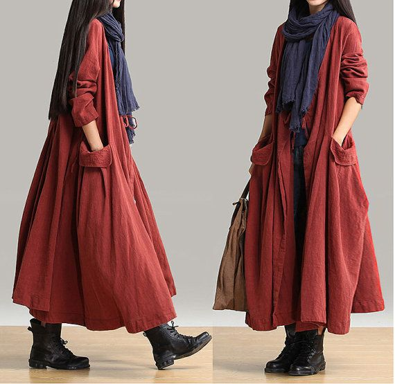 linen coat linen dress Open Long Knitwear Loose by customsize, $89.00