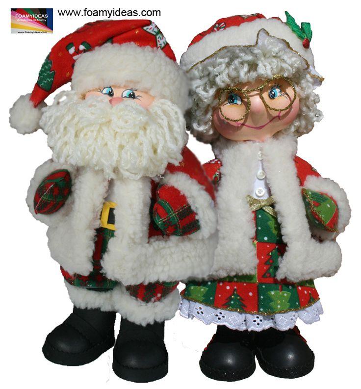 Fofucho Papá Noel y fofucha Mama Noel - elaborados en foamy.