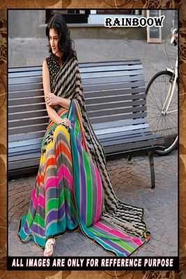 multi ambroidery georgette  party wear saree with blouse Bollywood Sarees Online on Shimply.com
