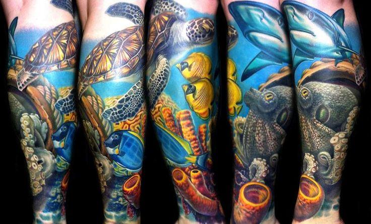 turtle and shark tattoos on calf  #turtle #shark #tattoos