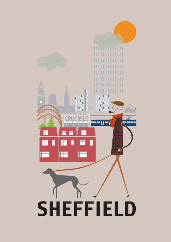 Sheffield Print 11x16 A3 poster wall art city par BJEartshop