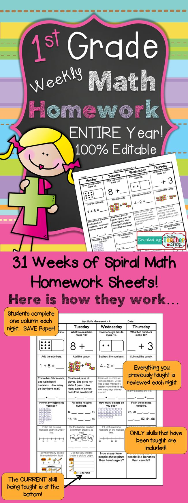 ENTIRE YEAR of 1st Grade Common Core Spiral Math Homework! 100% Editable - First Grade Math Homework, with Answer Keys! Paid