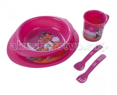 Canpol Набор посуды 4/405  — 990р. -----------------------------  Пластмассовый набор посуды рекомендуется для детей старше 12 месяцев и включает в себя: тарелку, миску, чашку и столовые приборы. Яркие цвета сделают кормление любого малыша более увлекательным. Столовые приборы округлой формы не раздражают нежные десны ребенка.   Внимание! Этот набор НЕЛЬЗЯ использовать в микроволновой печи!