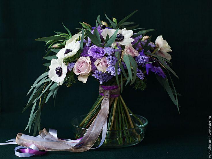 Купить Поздравительный букет с анемонами - цветы в подарок, букет цветов, букет роз, анемоны