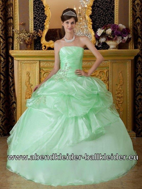 Hell Grünes Organza Sissi Kleid Ballkleid Bodenlang