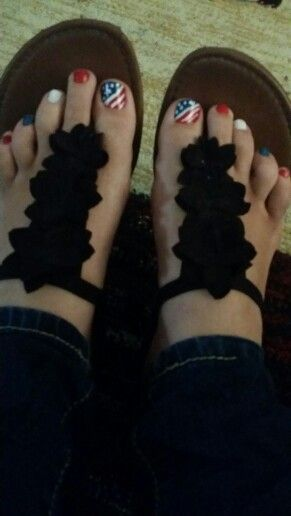Pedicure memorial day 4th fourth of July nails Diy independence day red white an…